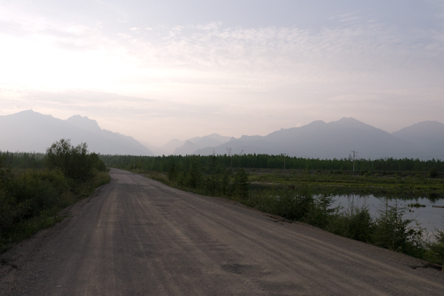 Looking back on the smoky haze obscuring the Transbaikal mountains just before entering Novy Uoyan
