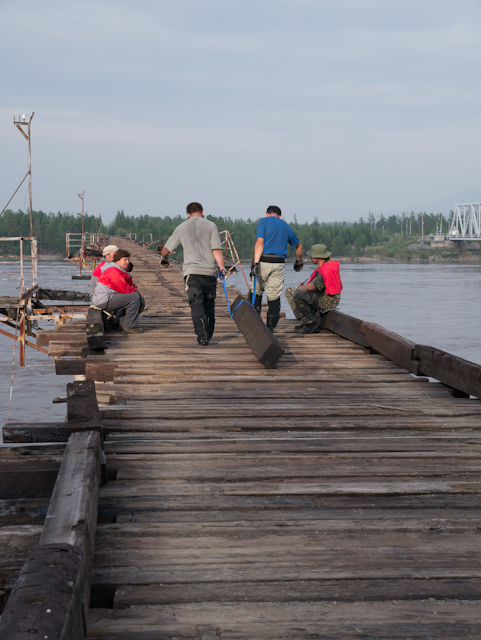 We'd ridden along way to repair a bridge almost no one uses. Men !